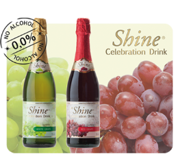 Shine, non-alcoholic sparkling celebration drink